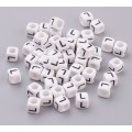 Letter L White Acrylic Beads, 6mm Cube, Pack of 50