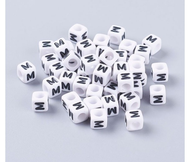 Letter M White Acrylic Beads, 6mm Cube, Pack of 50