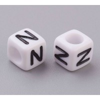 Letter N White Acrylic Beads, 6mm Cube, Pack of 50