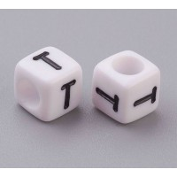 Letter T White Acrylic Beads, 6mm Cube, Pack of 50