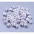 Letter U White Acrylic Beads, 6mm Cube, Pack of 50