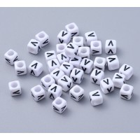 Letter V White Acrylic Beads, 6mm Cube, Pack of 50