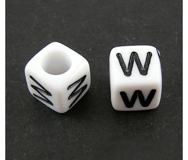 Letter W White Acrylic Beads, 6mm Cube, Pack of 50