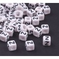 Letter Z White Acrylic Beads, 6mm Cube, Pack of 50
