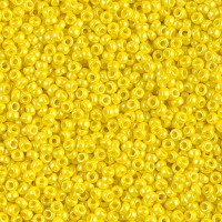 11/0 Miyuki Round Rocaille Seed Beads, Opaque Yellow Luster, 10 Gram Bag