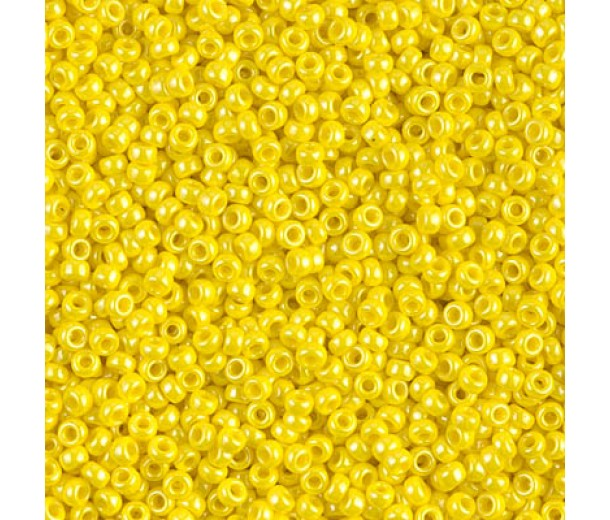 11/0 Miyuki Round Rocaille Seed Beads, Opaque Yellow Luster, 10 Gram Bag