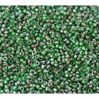 11/0 Miyuki Round Rocaille Seed Beads, Jade Green Picasso, 10 Gram Bag