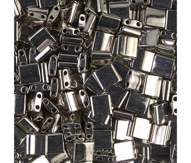 5x5mm Miyuki Tila Beads, Nickel Plated, 10 Gram Bag