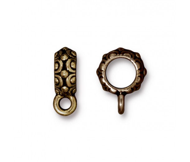 13mm Oasis Large Hole Bail by TierraCast, Antique Brass