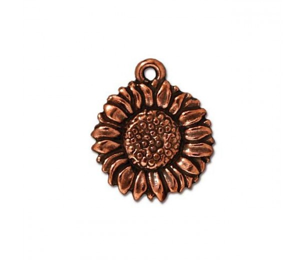 17mm Sunflower Drop by TierraCast, Antique Copper, 1 Piece