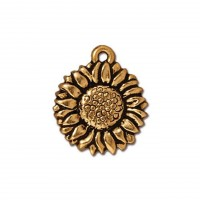 17mm Sunflower Drop by TierraCast, Antique Gold, 1 Piece