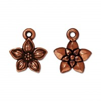 14mm Star Jasmine Drop by TierraCast, Antique Copper, 1 Piece