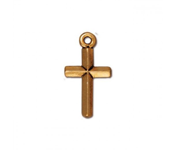 19mm Classic Cross Charm by TierraCast, Antique Gold
