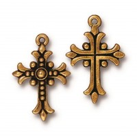 27mm Fleur Cross Charm by TierraCast, Antique Gold