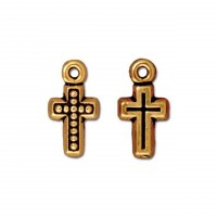 15mm Beaded Cross Charm by TierraCast, Antique Gold