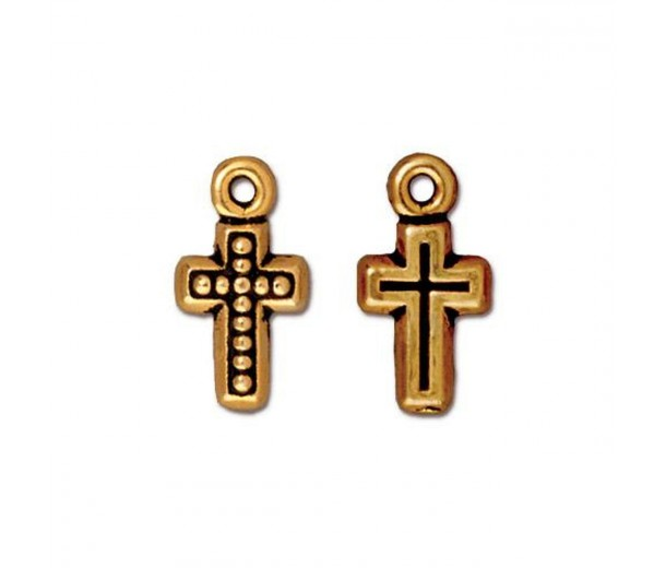 15mm Beaded Cross Charm by TierraCast, Antique Gold, 1 Piece