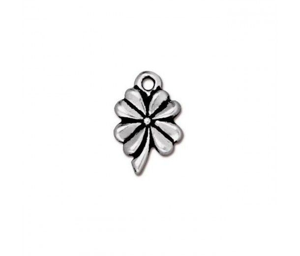 13mm Four Leaf Clover by TierraCast, Antique Silver, 1 Piece