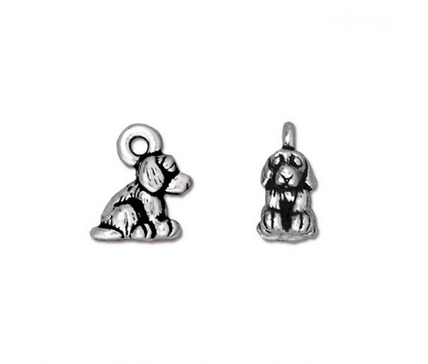10mm Small Dog Charm by TierraCast, Antique Silver