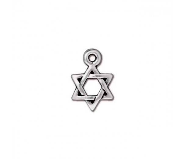 12mm Small Star of David Charm by TierraCast, Antique Silver, 1 Piece
