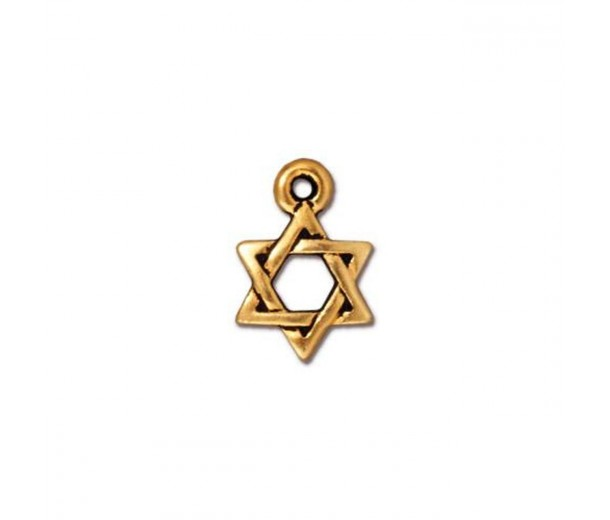 12mm Small Star of David Charm by TierraCast, Antique Gold, 1 Piece