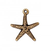 20mm Starfish Charm by TierraCast, Antique Gold