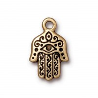 21mm Hamsa Hand Charm by TierraCast, Antique Gold