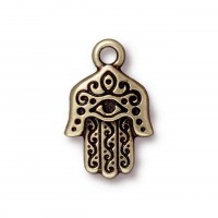 21mm Hamsa Hand Charm by TierraCast, Antique Brass