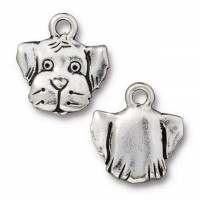 16mm Dog Head Charm by TierraCast, Antique Silver