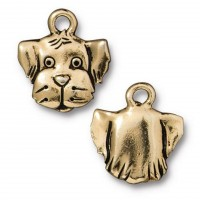 16mm Dog Head Charm by TierraCast, Antique Gold