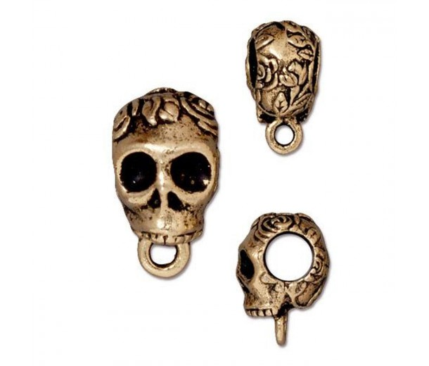 17mm Skull Large Hole Bail by TierraCast, Antique Gold, 1 Piece
