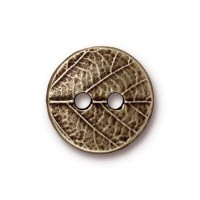 17mm Round Leaf Button by TierraCast, Antique Brass