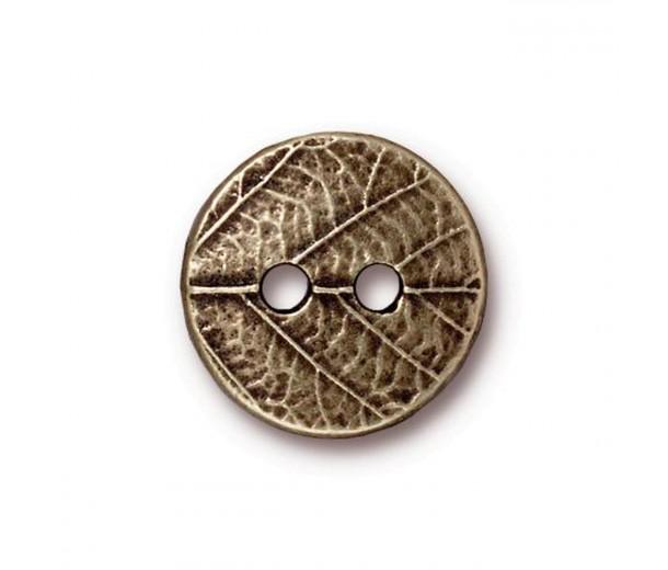 17mm Round Leaf Button by TierraCast, Antique Brass, 1 Piece