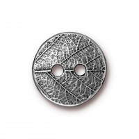 17mm Round Leaf Button by TierraCast, Antique Pewter