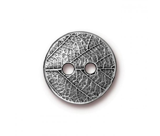 17mm Round Leaf Button by TierraCast, Antique Pewter, 1 Piece
