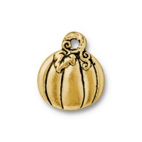 18mm Pumpkin Charm by TierraCast, Antique Gold