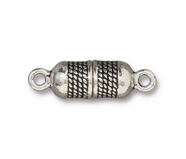 26mm Rope Design Magnetic Clasp by TierraCast, Antique Silver, 1 Set