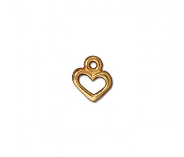 9mm Tiny Heart Charm by TierraCast, Gold Plated, 1 Piece
