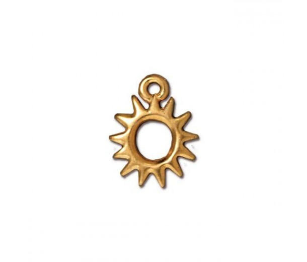 14mm Small Sun Charm by TierraCast, Gold Plated