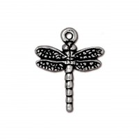 20mm Medium Dragonfly Charm by TierraCast, Antique Silver