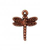 20mm Medium Dragonfly Charm by TierraCast, Antique Copper