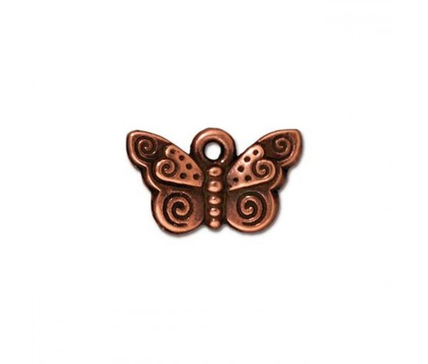 16mm Small Butterfly Charm by TierraCast, Antique Copper