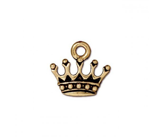 15mm Crown Charm by TierraCast, Antique Gold, 1 Piece