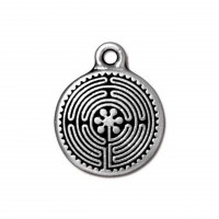 20mm Labyrinth Charm by TierraCast, Antique Silver
