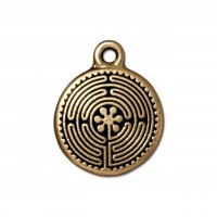 20mm Labyrinth Charm by TierraCast, Antique Gold