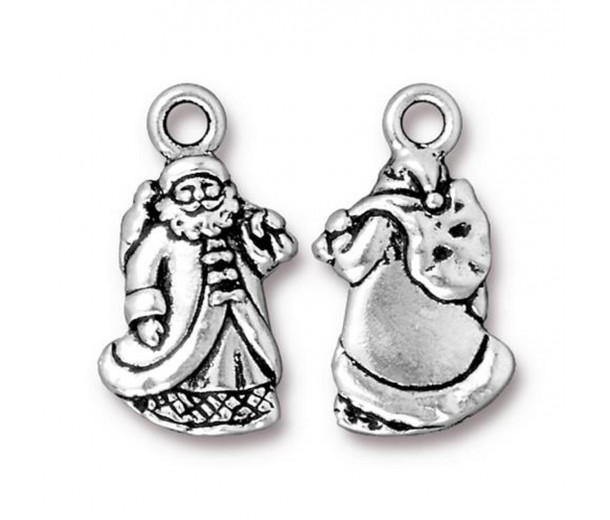 22mm Santa Claus Charm by TierraCast, Antique Silver, 1 Piece
