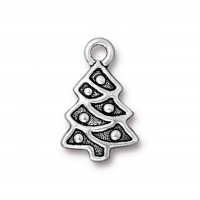 20mm Christmas Tree Charm by TierraCast, Antique Silver, 1 Piece