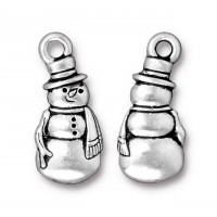 23mm Frosty The Snowman Charm by TierraCast, Antique Silver, 1 Piece
