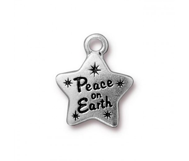 19mm Holiday Star Charm by TierraCast, Antique Silver, 1 Piece