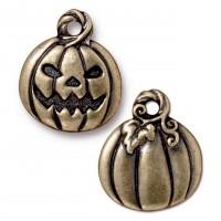 18mm Jack O'Lantern Halloween Charm by TierraCast, Antique Brass