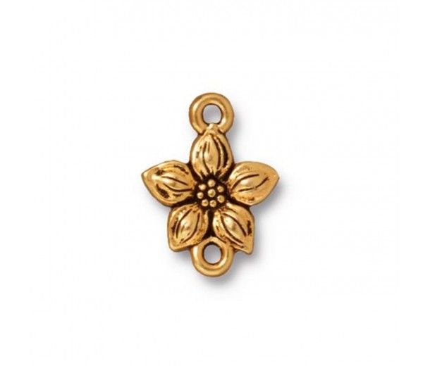 16mm Star Jasmine Link by TierraCast, Antique Gold, 1 Piece